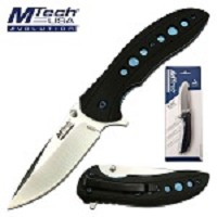Mtech Folding Knife 7.75 Inch Pocket Knife Black G10 Handle in Clamshell