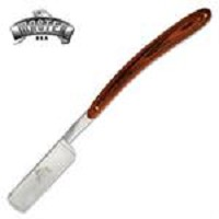 Straight Barber Razor with Brown Wood Handle