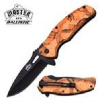 Master USA Ballistic Spring Action Assisted Opening Knife Brown Camo