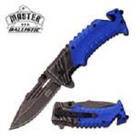 Ballistic Blue Tactical Rescue Spring Assist Pocket Knife Stone-Wash Blade