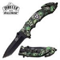 Ballistic 5 Inch Closed Rescue Spring Assisted Knife Green Skull
