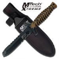 Tan Handle 4.25MM Thick Blunt Point Blade Dagger Boot Knife