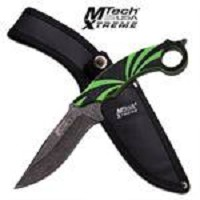 MTech USA Xtreme Fixed Blade Knife 10.25 Inches With Black & Green Handle