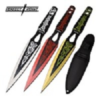 9 Inch Throwing Knife 3 Piece Set Embossed Printed Design