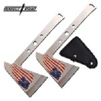Tomahawk Throwing Axe 9.5 inch Stainless Steel USA Flag Axe Head 2 Piece Set
