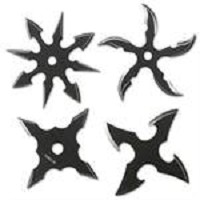 4pc Two Tone Black Stainless Steel Assorted Throwing Stars with Pouch - 2.5