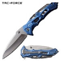 Tactical Pocket Knife Spring Assisted Knife Stylish Blue Aluminum Handle