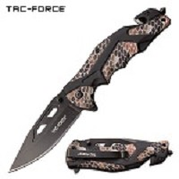 Tac Force Tactical Knife Brown Camo Spring Assisted Knife
