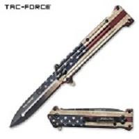 American Flag Spring Assisted Joker Pocket Knife