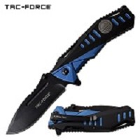 Spring Assisted Opening Pocket Knife 2 Tone Black Blue Handle