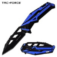 Spring Assisted Knife EDC Pocket Knife Black Blue Aluminum Handle
