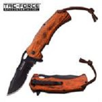 Tac Force 4.7 Inch Closed Spring Assisted Knife Brown Pakkawood