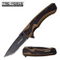 Tac Force Tanto Blade Spring Assisted Folding Pocket Knife Tan