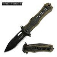 Tac Force Rubber Handle Spring Assisted Pocket Knife In Tan