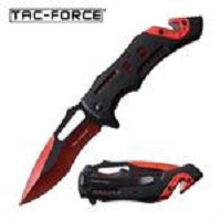 Tac-Force 8 Inch FD Spring Assisted Opening Pocket Knife Red Black