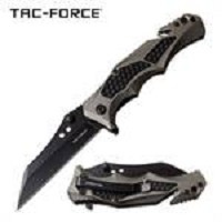 Grey handle Spring Assisted Folding Pocket Knife Tactical Blade