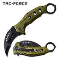 Spring Assisted Folding Pocket Knife Green Handle karambit With Thumb Ring And Pocket Clip