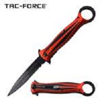 Stiletto Style Red Handle With Thumb Ring Spring Assisted Folding Pocket Knife