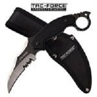 Tac Force Karambit Fixed Blade Tactical Knife Stonewash