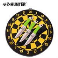 Z Hunter 3 Piece Throwing Knife Set with Target Board - Green Cord Wrapped Knives